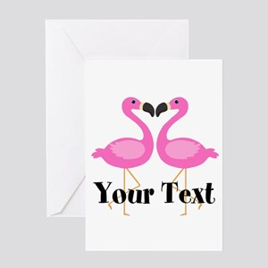 Personalizable Pink Flamingos Greeting Cards