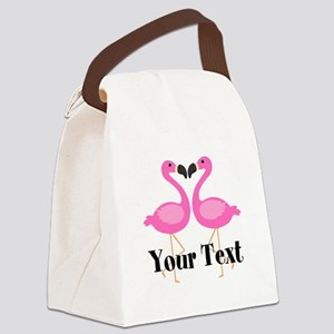 Personalizable Pink Flamingos Canvas Lunch Bag