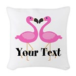 Personalizable Pink Flamingos Woven Throw Pillow