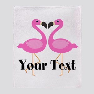 Personalizable Pink Flamingos Throw Blanket