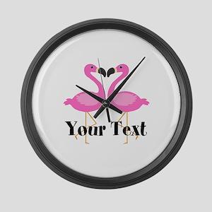 Personalizable Pink Flamingos Large Wall Clock