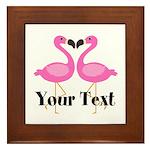 Personalizable Pink Flamingos Framed Tile