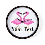 Personalizable Pink Flamingos Wall Clock