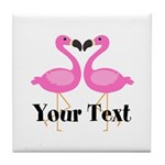 Personalizable Pink Flamingos Tile Coaster
