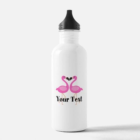 Personalizable Pink Flamingos Water Bottle