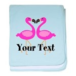 Personalizable Pink Flamingos baby blanket