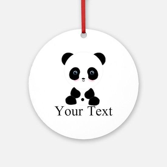 Personalizable Panda Bear Round Ornament