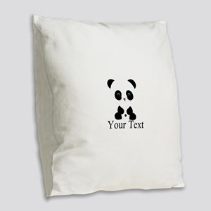 Personalizable Panda Bear Burlap Throw Pillow