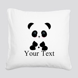 Personalizable Panda Bear Square Canvas Pillow