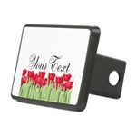 Personalizable Red Tulips Hitch Cover