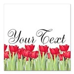 Personalizable Red Tulips Square Car Magnet 3
