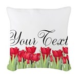 Personalizable Red Tulips Woven Throw Pillow