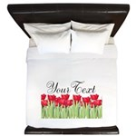 Personalizable Red Tulips King Duvet