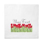 Personalizable Red Tulips Queen Duvet