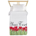 Personalizable Red Tulips Twin Duvet