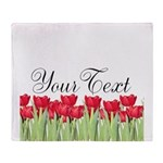 Personalizable Red Tulips Throw Blanket