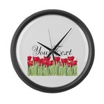Personalizable Red Tulips Large Wall Clock