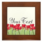 Personalizable Red Tulips Framed Tile