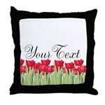 Personalizable Red Tulips Throw Pillow
