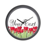 Personalizable Red Tulips Wall Clock