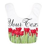 Personalizable Red Tulips Polyester Baby Bib