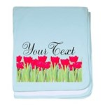 Personalizable Red Tulips baby blanket
