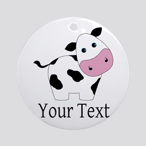 Personalizable Black and White Cow Round Ornament