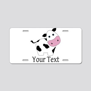 Personalizable Black and White Cow Aluminum Licens