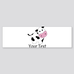 Personalizable Black and White Cow Bumper Sticker