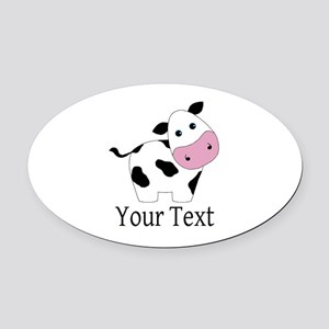 Personalizable Black and White Cow Oval Car Magnet