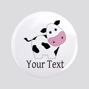 Personalizable Black and White Cow Button