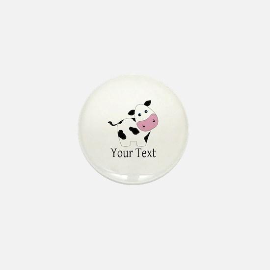 Personalizable Black and White Cow Mini Button