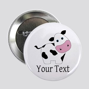 """Personalizable Black and White Cow 2.25"""" Button"""