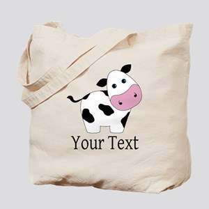 Personalizable Black and White Cow Tote Bag