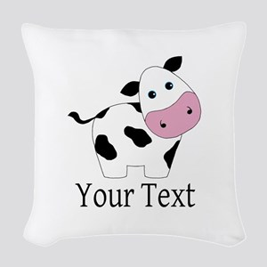 Personalizable Black and White Cow Woven Throw Pil
