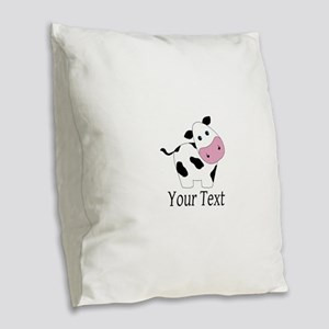 Personalizable Black and White Cow Burlap Throw Pi