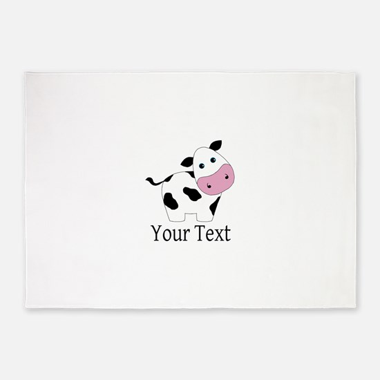 Personalizable Black and White Cow 5'x7'Area Rug