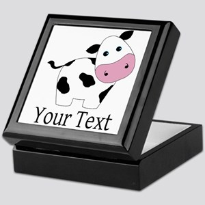 Personalizable Black and White Cow Keepsake Box