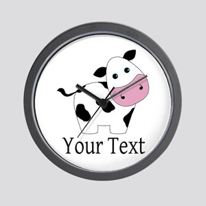 Personalizable Black and White Cow Wall Clock
