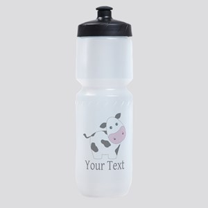 Personalizable Black and White Cow Sports Bottle