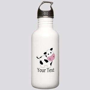 Personalizable Black and White Cow Water Bottle