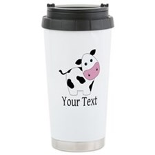 Personalizable Black and White Cow Travel Mug