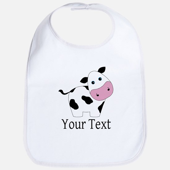 Personalizable Black and White Cow Baby Bib