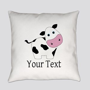 Personalizable Black and White Cow Everyday Pillow