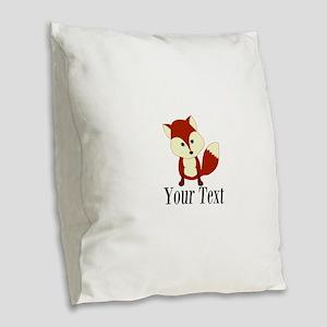 Personalizable Red Fox Burlap Throw Pillow
