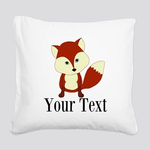 Personalizable Red Fox Square Canvas Pillow