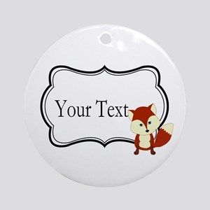Personalizable Red Fox on Black Round Ornament