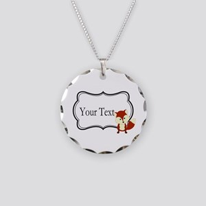 Personalizable Red Fox on Black Necklace