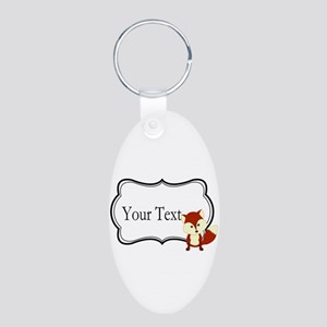Personalizable Red Fox on Black Keychains