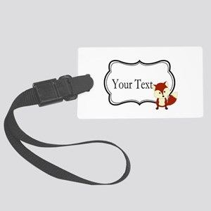 Personalizable Red Fox on Black Luggage Tag